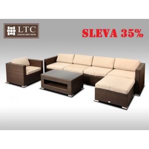 Luxusní rohová sedací souprava ALLEGRA X hnědá 5-6 osob, světle hnědý polstr