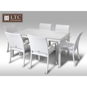 Umělý ratan - jídelní sestava Orlando 150 + 6 židlí Armino bílá