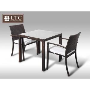 Umělý ratan - jídelní sestava Orlando 80 + 2 židle Armino hnědá