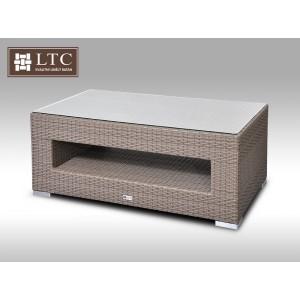Konferenční stolek z umělého ratanu ALLEGRA šedobéžový