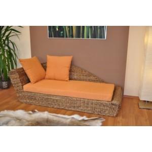 Odpočinková pohovka pravá  banánový list polstr oranžový