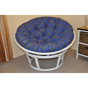 Ratanový papasan 110 cm bílý, polstr modrý