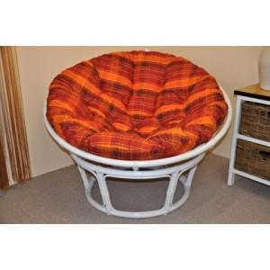 Ratanový papasan 110 cm bílý, polstr oranžová kostka