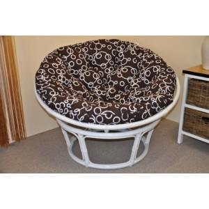 Ratanový papasan 110 cm bílý, polstr bubliny