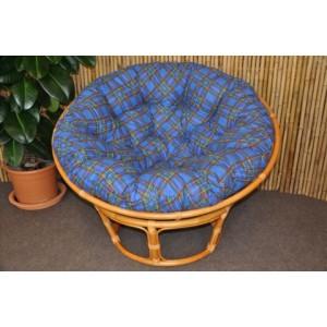 Ratanový papasan 110 cm medový polstr modrý