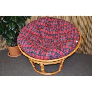 Ratanový papasan 110 cm medový polstr červený