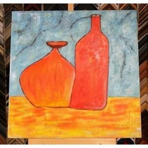 Obraz dvě láhve 90x90 cm