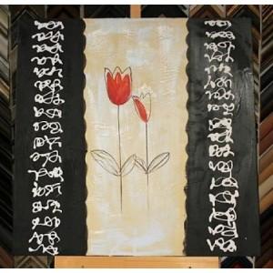 Obraz dva červené tulipány 75x75 cm
