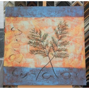 Obraz dva listy kapradin 75x75 cm