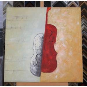 Obraz dvoubarevné housle 75x75 cm