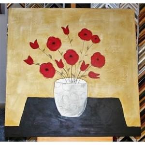 Obraz kytice červených květů 90x90 cm