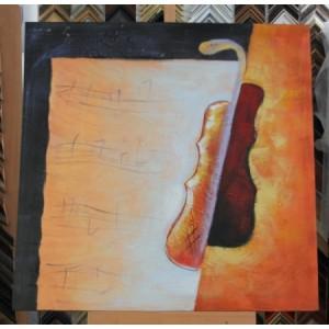 Obraz dvoubarevné housle II 75x75 cm