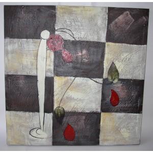 Obraz květy a šachovnice 75x75 cm
