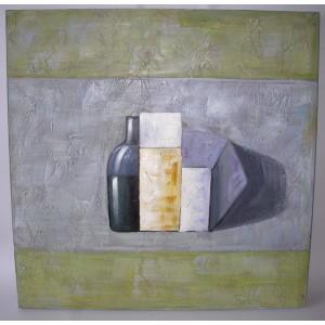 Obraz láhev a váza 75x75 cm
