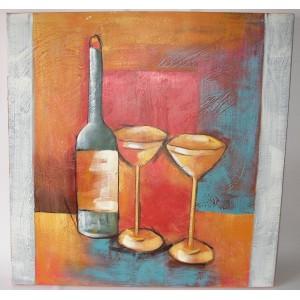 Obraz láhev a skleničky 75x75 cm