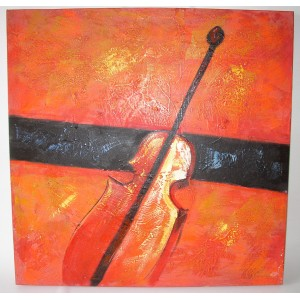 Obraz červené housle 75x75 cm