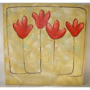 Obraz čtyři tulipány 75x75 cm