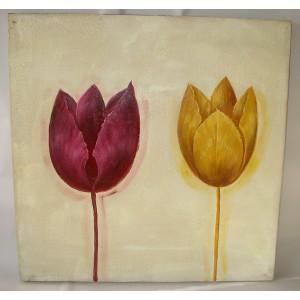 Obraz dva tulipány 75x75 cm
