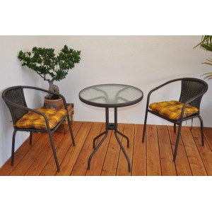 Doprava zdarma - Zahradní nábytek kov + umělý ratan 2+1 s polstry