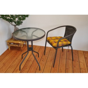 Zahradní nábytek kov + umělý ratan 1+1 s polstrem