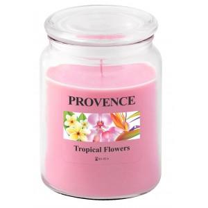 Svíčka ve skle s víčkem, tropické květy 510 g