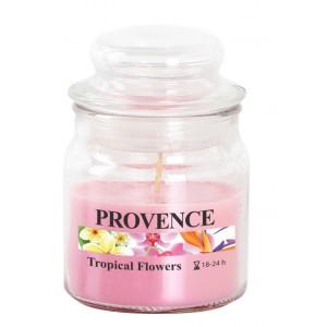 Svíčka ve skle s víčkem, tropické květy 70 g